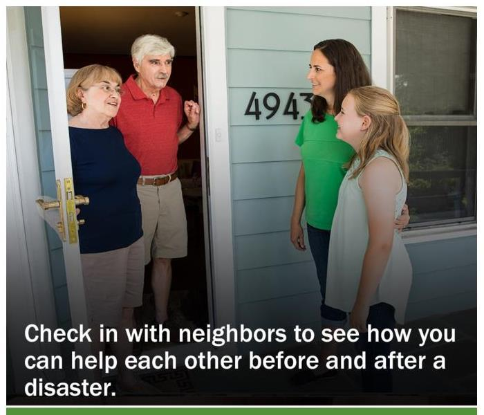 A mother and daughter checking in on their elderly neighbors at their home.