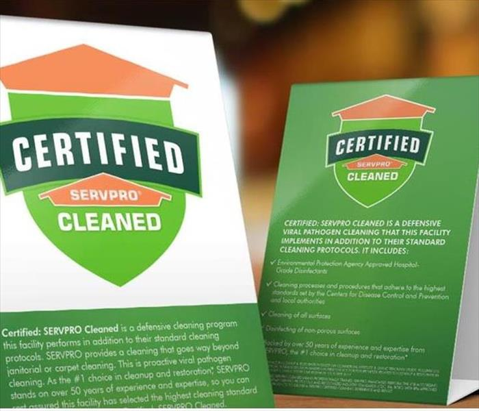 Certified: SERVPRO Cleaned table cards for businesses