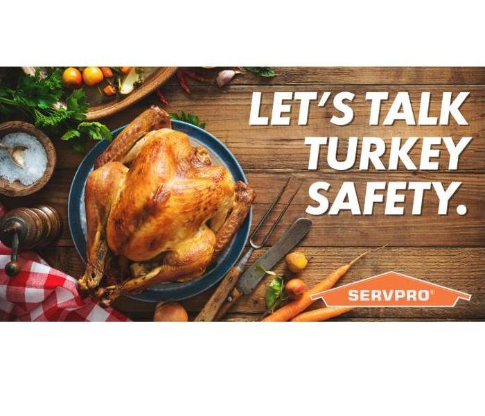 "A cooked turkey is on a table with other food items. The text reads ""lets' talk turkey safety"""