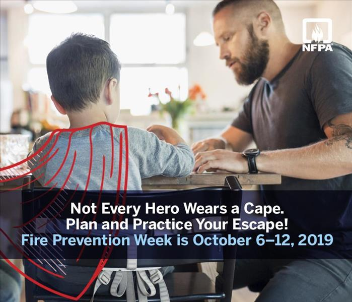 "A father and son sit at the kitchen table, photo text reads ""Not Every Hero Wears a Cap. Plan and Practice your Escape."