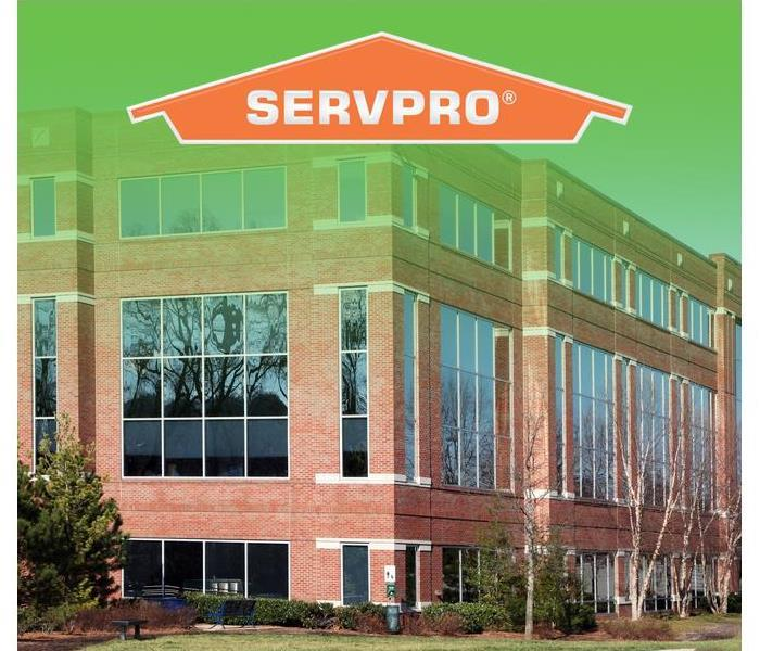commercial building with SERVPRO logo