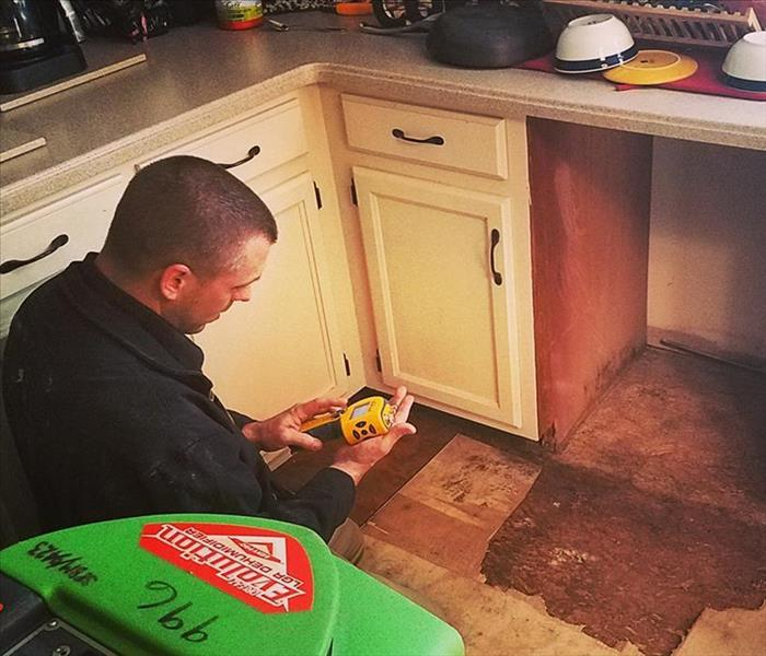 SERVPRO tech in kitchen checking his moisture meter.